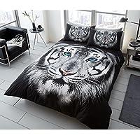 Tiger Gesicht Doppelbett Bezug Set Braun Schwarz Weiß Bettwäsche