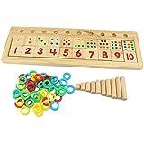 Abaj Colourful Montessori Teaching Tool Math Number Wood Board Preschool Toy Kids Wooden Educational Toy