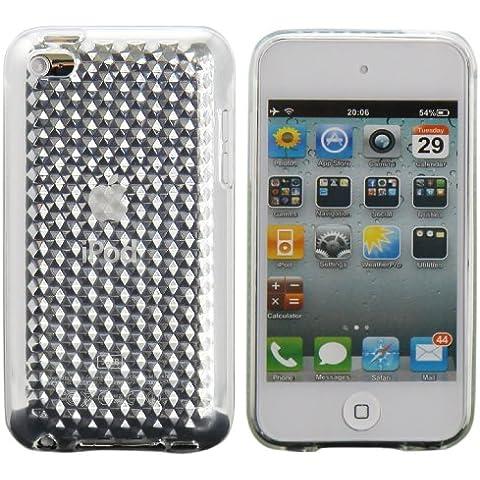 Luxburg® Diamond Design custodia cover per Apple iPod Touch 4G colore bianco cristallo, in silicone TPU
