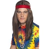 Hippie Set - Perücke, Brille, Peace Anhänger und Stirnband