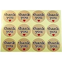 120pcs 3,5cm Round gracias con corazón rojo adhesivo de papel de estraza etiquetas para boda Favor gracias tarjeta, sobres con sello, embalaje de regalo de DIY