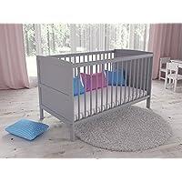 Convertible Grey Wooden Baby Cot Bed + Foam Mattress with Antibacterial Aloe Vera Cover