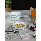 Corelle Livingware South Beach Glass Dessert Bowl, 14cm, Set Of 6, White/Blue
