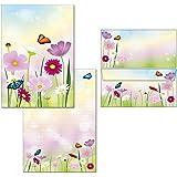 Lettre Bloc à anneaux fleurs–1bloc-notes A4+ 18Enveloppes DIN Long 7360+ 6123