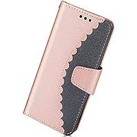 Herbests Leder Schutzhülle für Samsung Galaxy S9 Brieftasche Hülle Leder Tasche Handyhüllen Doppelfarbig Muster Mädchen Männer Luxus Vintage Lederhülle Flip Case Cover,Rose Gold + Blau