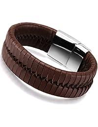 Ostan - 316L acero inoxidable y cuero gótico pulseras de hombres - nueva moda joyería brazaletes, marrón
