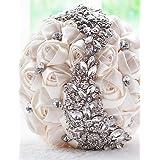 LNPP Hochzeitsblumen Str?u?e Hochzeit Perlen Spitze ca.25cm , milky white