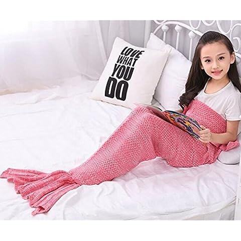 Hecho a mano, diseño de sirena manta, sofá cama, todas las estaciones de punto manta para niños por jfq rosa Rosa
