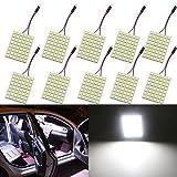 GrandView 10pcs Super Luminoso Bianco 5050 48-SMD LED Pannello di Illuminazione a Risparmio Energetico Lampada Auto Interno Piastra di Lettura Luce Tetto Soffitto Lampada Cablata Interna (12V DC)