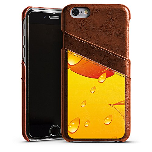 Apple iPhone 4 Housse Étui Silicone Coque Protection Feuilles Gouttes de pluie Automne Étui en cuir marron
