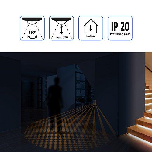 deleyCON Infrarot Wand-Bewegungsmelder – für Innenbereich – 160° Arbeitsfeld – Reichweite bis 9m – einstellbarer Umgebungshelligkeit – IP20 Schutzklasse – für Unterputz-Montage – Weiß - 5
