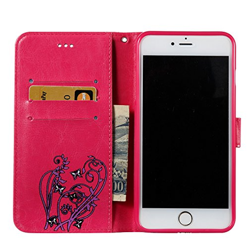 EKINHUI Case Cover Color Printing Embossing Blumen Muster PU Leder Geldbörse Case Cover Tasche [Magnetverschluss] mit Card Slots & Lanyard & Halter & Kickstand Für iPhone 6 Plus & 6s Plus ( Color : Pi Rose