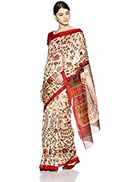 Womanista Women's Printed Art Silk Sari With Blouse Piece(FSP402_Red And White_Free Size)