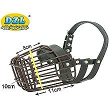 DZL Bozal metal fuerte con piel para perro tamaño mediano (GRANDE)