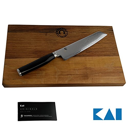 Kai Shun Premier Tim Mälzer Geschenkset | TMM-0701 Minamo Allzweckmesser | 15cm Klinge aus Damaststahl + | massives Schneidebrett aus Fassholz (25x15) | VK: 229,- € (Shun Premier Fleisch)