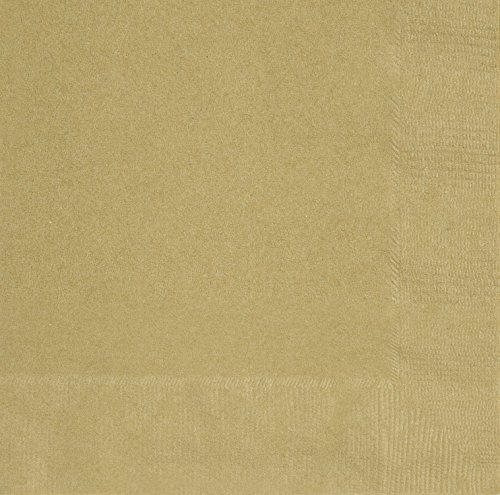 Unique Party 3321 - 13 cm Tovaglioli di Carta Dorati, Confezione di 20