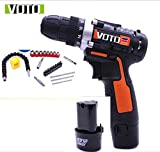 12vCordless Drill, 2.0Ah, 2-fach Profi-Schlagschrauber, Max. Drehmoment 27N.m, 18 + 1 Drehmomenteinstellung, Ah Lithium-Ionen-Batterien, 26Pcs Aaccessories (Farbe : Orange)