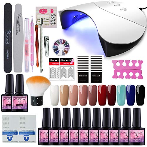 Saint-Acior 36W UV LED Nagellampe Starterset 10x Gel Lacken für UV Nageldesign Gelnägel Nagelset uv Gel Lacken Set - Set Uv Gel