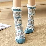 LILONGXI Warme Socken,Mädchen Verdicken rutschfeste Plüsch Gestrickt, Socken, Innen Hellblau Elk Muster Drucken Home Plus Samt Teppich Freizeit Socken (3pcs)