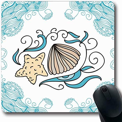 Tapis De Souris Oblong Sketch Bleu Aquatique Mer Abstrait Aquarium Salut Nature Plage Frontière Coquillage Coquillage Conch Bureau Créatif