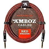 Red Dragon - Cavo jack to jack per chitarra elettrica, basso e Strumenti Musicali - molto silenzioso, 4,5m, rosso - da Jack 6,3 mm dritto