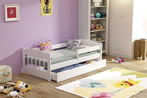 Kinderbett Massivholz 140x70 160x80 mit Schublade Matratze weiß Kiefer (70 x 140 cm, Weiß)
