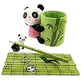 Panda - Set de regalo con 1 soporte para bolígrafo de Panda de felpa, 1 abalorio de panda de cerámica, 12 lápices para fanáticos de Panda