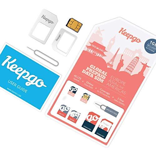 Keepgo - Internationale 4G LTE SIM-Karte - Europa - über 30 abgedeckte Länder - 1 GB Datenvolumen inklusive (Sim-karten Für Europa)