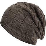 Compagno warm gefütterte Beanie Wintermütze Flechtmuster unifarben oder meliert Einheitsgröße Mütze, Farbe:Hellbraun