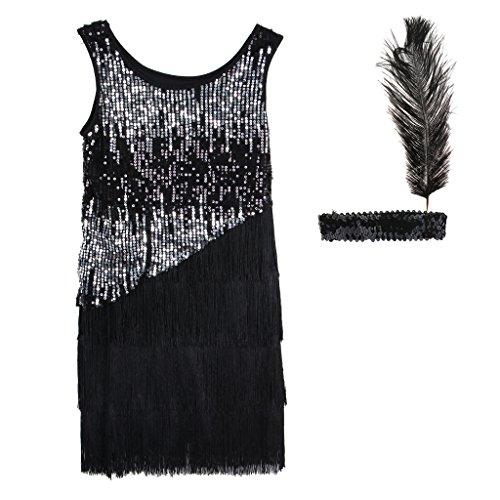 MagiDeal 20er Jahre Gatsby Kostüm Set Charleston Kleid Fransenkleid Paillettenkleid mit Feder Stirnband, Schwarz - L