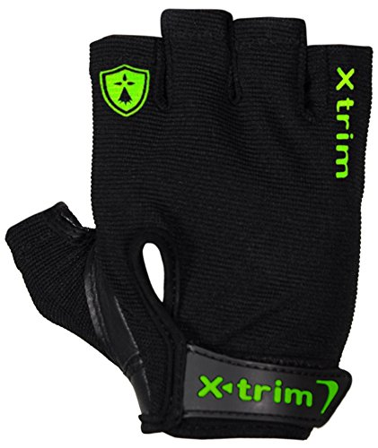"""XTRIM - AMIGO ( M / L / XL / XXL ) REAL LEATHER - GYM GLOVES - FOR MEN- Washable Real Leather, Durable, Double Stitched, 4-way Stretch Back Mesh, Half Finger Length, No Sweat, Extra Foam Padded, Luxurious Closure. Uses: Weight Lifting, Gym Gloves, Fitness Gloves, Work out Gloves for Palm Protection and comfort. FREE !!! 14 inches / 35 cm EXTRA WIDE SPORTS GRADE """"Wrist support """"!"""