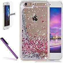 """Newstars - Carcasa con diseño creativo de líquido flotante y purpurina para iPhone 6/6s de 4,7"""", protector de pantalla de cristal templado y lápiz capacitativo, compatible con Apple iPhone 6"""