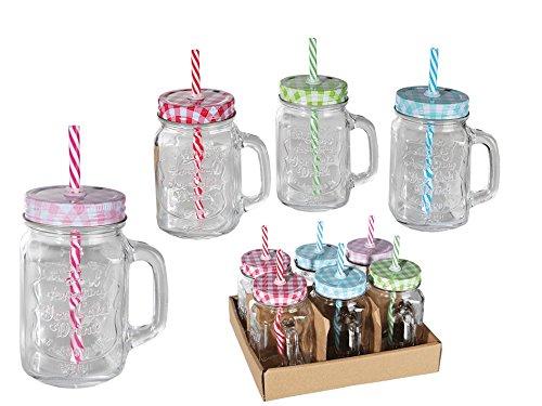 Trinkglas mit Henkel und farbigem Deckel mit Strohhalm Einmachglas Optik 500 ml 6 Stück