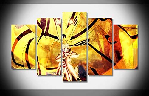 Mcanvas 5pcs Lienzo Impresión Pared Arte Pintura Naruto Naruto Shippuden Bijuu Modo Uzuma para Hogar Decoración Moderna, Medium