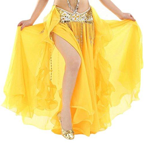 YuanDian Mujer Profesional Color Sólido Gasa Danza Del Vientre Alta Falda de Hendidura Swing Maxi Falda Ropa Danza Moderna Amarillo(Sin incluir el cinturón)