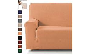 Eiffel Textile Lot de 2 Housses élastiques pour canapé 3 + 2 Places Pack 3+2 Plazas Orange
