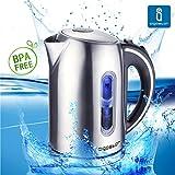 Aigostar King 30CEA - Hervidor de agua en acero inoxidable con iluminación led. Capacidad 1,7 litros. Libre BPA.