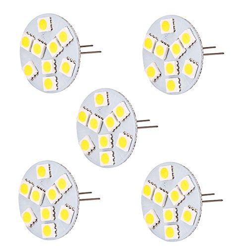 hero-led Retro allungato Pin T3G4Base Bi Pin JC alogena a LED Xenon lampadina di ricambio, 12V ac/dc o 24V DC, lampade da scrivania, con luci, Puck Luci, Luci under-counter, sottopensili luci, Marine, barche, yacht, Accent, display, paesaggio e illuminazione generale, 9SMD LED, 15-20W di ricambio, confezione da 5, Daylight White 5000K, G4, 1.80 wattsW 12.00 voltsV