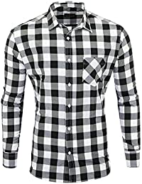3f79d04ba3d8 Reslad Hemd kariert Herren Vintage Holzfällerhemd Karo-Hemd Flanellhemd  Männer Langarm Checked Flanell Shirt RS