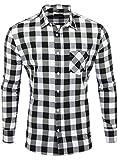 Reslad Hemd kariert Herren Vintage Holzfällerhemd Karo-Hemd Flanellhemd Männer Langarm Checked Flanell Shirt RS-7113 Schwarz-Weiß XL