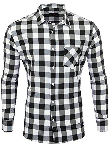 Reslad Hemd kariert Herren Vintage Holzfällerhemd Karo-Hemd Flanellhemd Männer Langarm Checked Flanell Shirt RS-7113 Schwarz-Weiß S