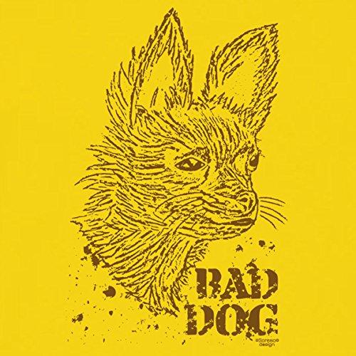 Geschenk für Katzen-Hunde-Freunde :-: T-Shirt mit Katzen Motiv :-: Bad Dog :-: Geschenkidee für Tierfreunde zum Geburtstag Vatertag Weihnachten :-: Farbe: gelb Gelb