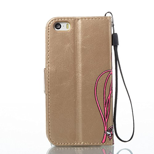 Case MAGQI iPhone 5/5S/SE Custodia,Morbido Durevole Portafoglio in Pelle PU Premium Rosa Farfalla Embossed Fiore Modello Copertina Basamento del Telefono Flip Stile Libro Copertura Protettiva Shell Pe Oro
