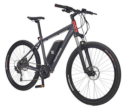 Telefunken E-Bike Mountainbike Elektrofahrrad 250W und 10 Ah, 36V Lithium-Ionen-Akku, Shimano Kettenschaltung - Pedelec MTB leicht, Alu in Grau, 10 Gang, Reifengröße: 27,5 Zoll