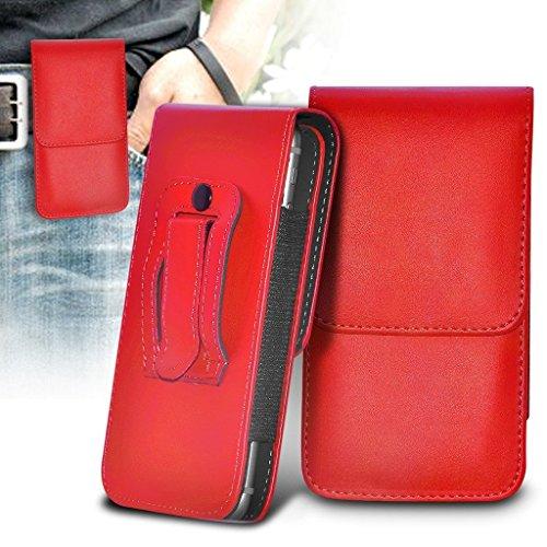 i-Tronixs (Red 146,8 x 73 mm) Gehäuse für Doogee X30 Tasche Hülle (PU) Leder-Gurt-Klipp-Beutel- Tasche Hülle-Schlag-Abdeckung Magneten Doogee X30 Tasche Hülle