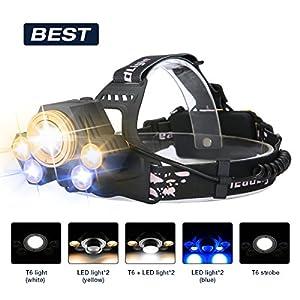Superheller LED Stirnlampe,SGODDE LED Kopflampe mit 5 LED 8000LM mit Eingebauter Akku Kopfleuchten 5 Modi Perfekt für Camping, Mountainbiking, Fischerei, Keller,Laufen, Campen, Wandern und Spaziereng