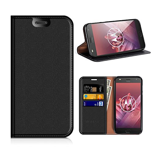 MOBESV Motorola Moto Z2 Play Hülle Leder, Motorola Moto Z2 Play Tasche Lederhülle/Wallet Case/Ledertasche Handyhülle/Schutzhülle mit Kartenfach für Motorola Moto Z2 Play - Schwarz