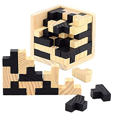 3D Wood Brain Puzzle - Chickwin T-shaped Tetris Blocks Game