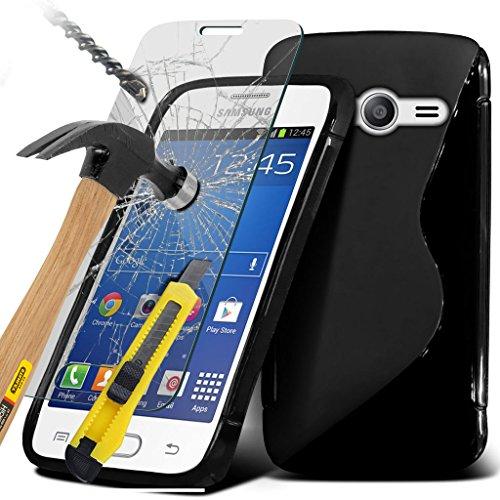 ( Black ) Samsung Galaxy Ace 4 G313 custodia, caso, Case Cover Specifically Designed S-Line Wave Design della cassa del gel è disponibile anche con schermo LCD vetro temperato Proteggi, Panno e penna stilo a scomparsa penna stilo in esclusiva su Spyrox