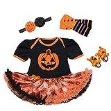 ARAUS Traje de Bebé de Manga Corta Patrón de Halloween Calabaza Mono Tutu Falda + Cinta de Cabeza + Cubiertas + Zapatos 4 Piezas 0-12 Meses